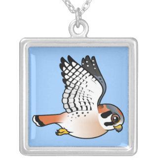 American Kestrel in flight Square Pendant Necklace