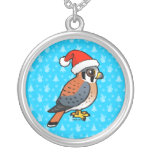 American Kestrel Santa Silver Plated Necklace