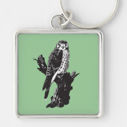 Premium Square Keychain with American Kestrel Sketch design