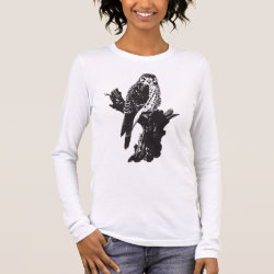 Women's Basic Long Sleeve T-Shirt with American Kestrel Sketch design