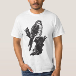 Men's Crew Value T-Shirt with American Kestrel Sketch design