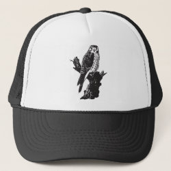 Trucker Hat with American Kestrel Sketch design