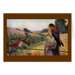 American Kestrels on a Barbed Wire Fence Greeting Card