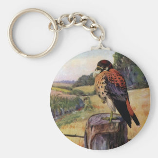American Kestrels on a Barbed Wire Fence Keychain