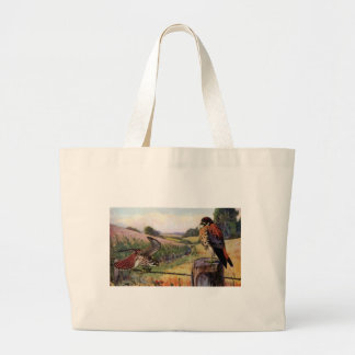 American Kestrels on a Barbed Wire Fence Large Tote Bag