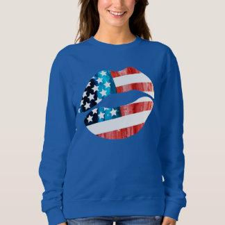 AMERICAN KISS,AMERICAN FLAG T SHIRT,I LOVE AMERICA SHIRTS