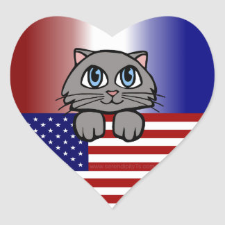American Kitty Heart Sticker