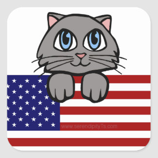 American Kitty Square Sticker