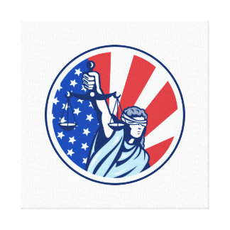 American Lady Holding Scales of Justice Flag retro Canvas Print