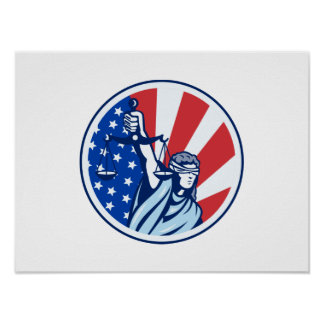 American Lady Holding Scales of Justice Flag retro Poster