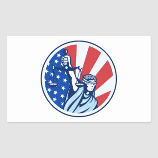 American Lady Holding Scales of Justice Flag retro Rectangular Sticker