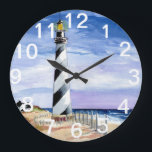 """American Lighthouse clock<br><div class=""""desc"""">An original watercolor painting by Anne Ormsby adorns this clock.</div>"""