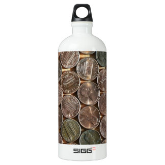 American Lincoln Pennies Texture Aluminum Water Bottle