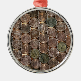 American Lincoln Pennies Texture Metal Ornament