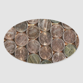 American Lincoln Pennies Texture Oval Sticker