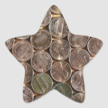 American Lincoln Pennies Texture Star Sticker