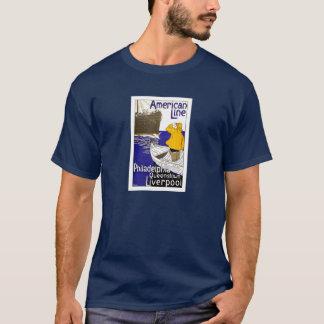 American Line Travel Poster Design T-Shirt
