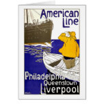 AMERICAN LINE - Vintage Travel Poster Design Greeting Card