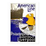 AMERICAN LINE - Vintage Travel Poster Design Postcard