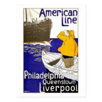AMERICAN LINE - Vintage Travel Poster Design
