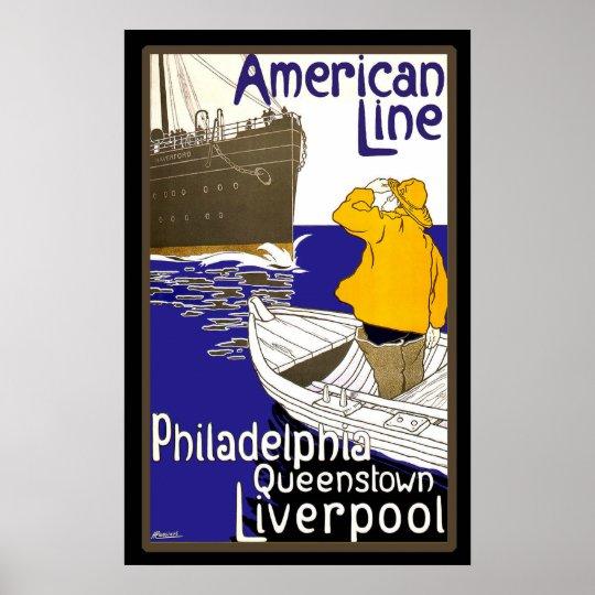 American Lines Sailor in Boat Meeting Liner Poster