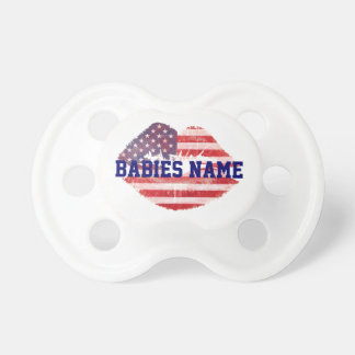 American lips with custom text template pacifier