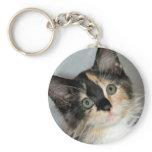 American Longhair Calico Shelter Kitten Keychain