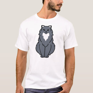 American Longhair Cat Cartoon T-Shirt