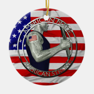 American Made American Strong Ceramic Ornament