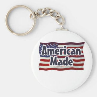 American Made Basic Round Button Keychain