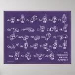 American Manual Alphabet Purple Blackboard Poster