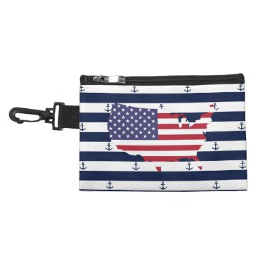 USA Themed American map flag   nautical stripes pattern accessory bag