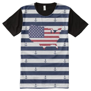 USA Themed American map flag | nautical stripes pattern All-Over-Print T-Shirt