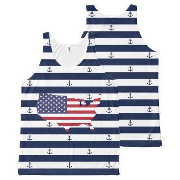 USA Themed American map flag | nautical stripes pattern All-Over-Print tank top