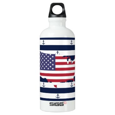 USA Themed American map flag | nautical stripes pattern aluminum water bottle