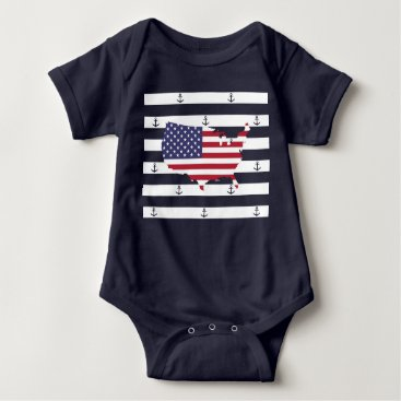 USA Themed American map flag | nautical stripes pattern baby bodysuit