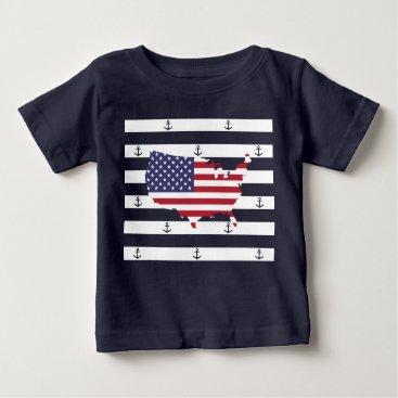 USA Themed American map flag | nautical stripes pattern baby T-Shirt