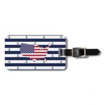 USA Themed American map flag   nautical stripes pattern bag tag