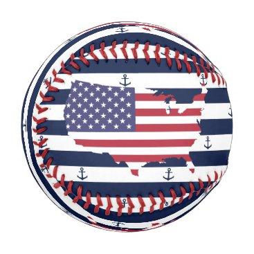 USA Themed American map flag   nautical stripes pattern baseball