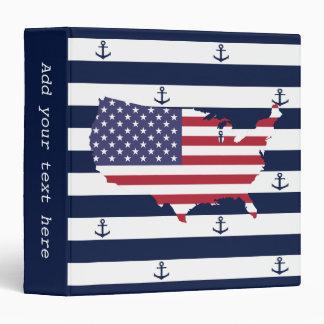 American map flag   nautical stripes pattern binder