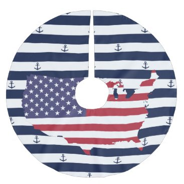 USA Themed American map flag | nautical stripes pattern brushed polyester tree skirt