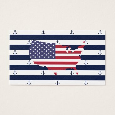 USA Themed American map flag | nautical stripes pattern business card