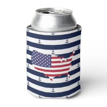 USA Themed American map flag | nautical stripes pattern can cooler