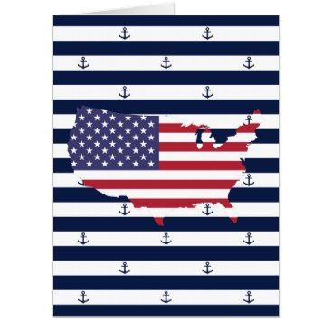 USA Themed American map flag | nautical stripes pattern card
