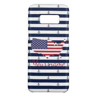 American map flag | nautical stripes pattern Case-Mate samsung galaxy s8 case