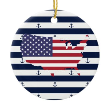 USA Themed American map flag | nautical stripes pattern ceramic ornament