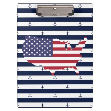 USA Themed American map flag | nautical stripes pattern clipboard