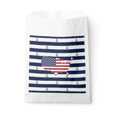 USA Themed American map flag | nautical stripes pattern favor bag