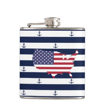USA Themed American map flag | nautical stripes pattern flask