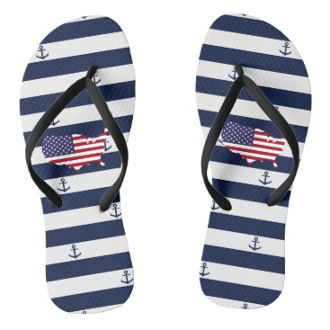 USA Themed American map flag | nautical stripes pattern flip flops